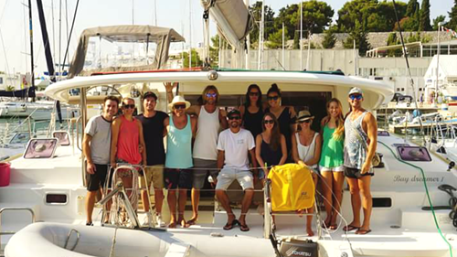 Antoni and his crew aboard Baydreamer in September 2015